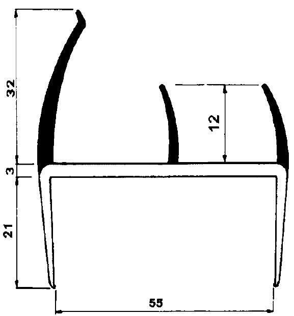 pvc profil f r 55mm platten selbstbau material. Black Bedroom Furniture Sets. Home Design Ideas